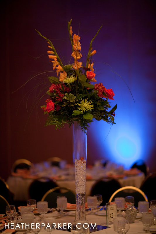 centerpieces at an indian wedding reception