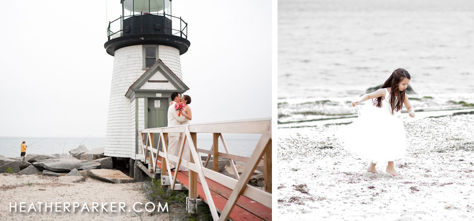 Nantucket wedding at Brant Point Light newlyweds