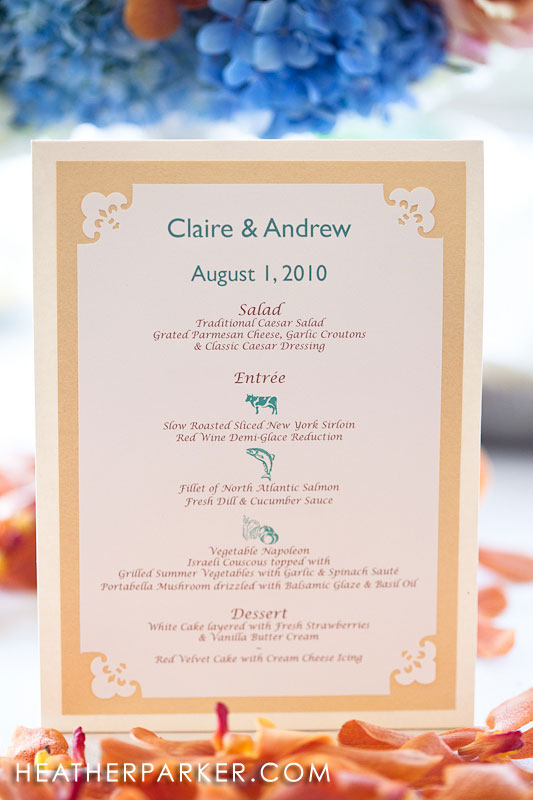 DIY custom wedding menu with icons and pictures