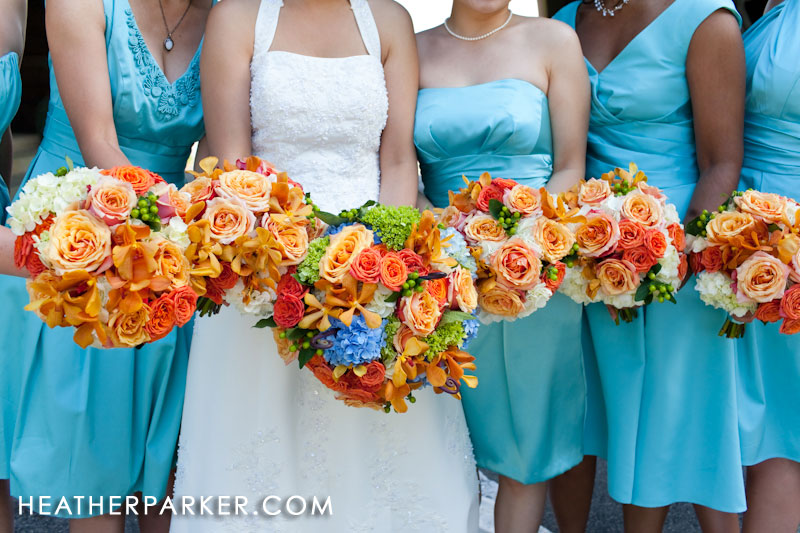 tiffany blue bridesmaid dress and flowers