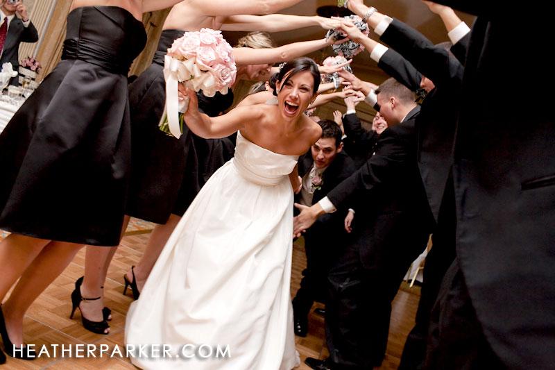 fun wedding entrance at a reception