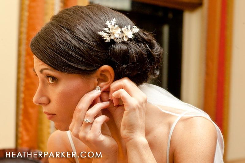 boston bride in the mirror