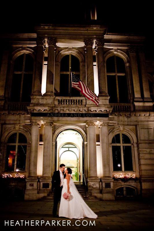 downtown boston wedding photojournalism at night