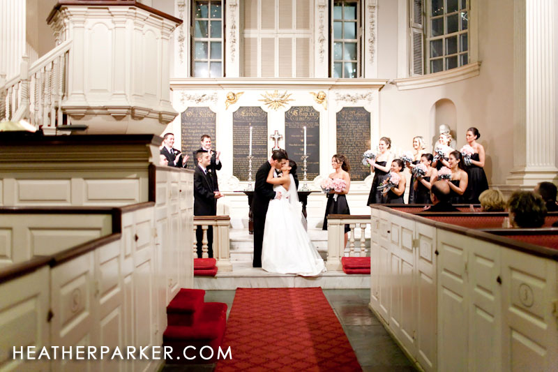 luxury wedding at the king's chapel church in downtown boston