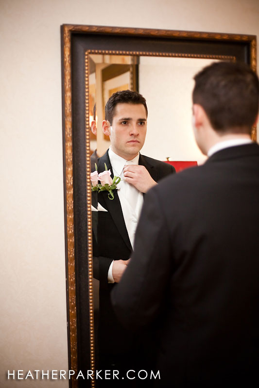 wedding photographer at omni hotel in the bridal suite