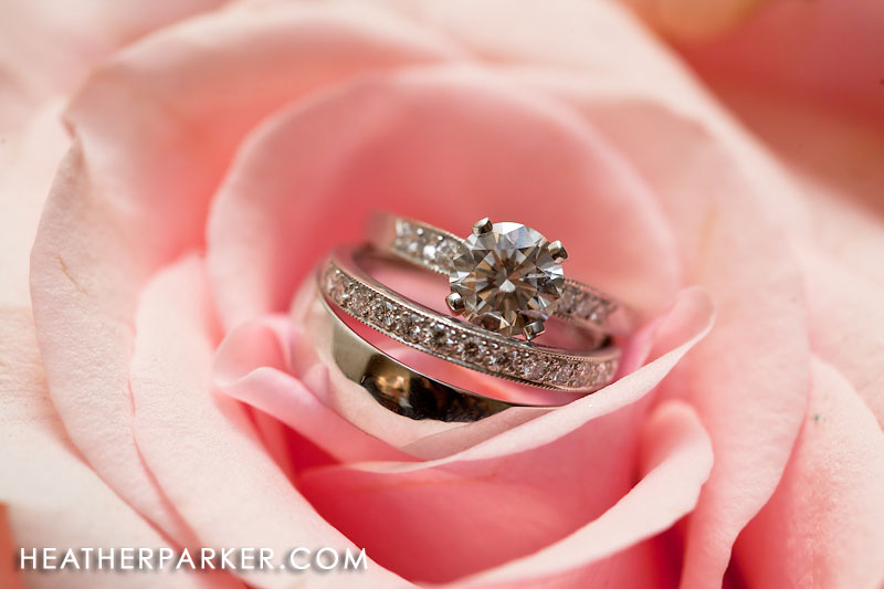 wedding rings and a pink flower