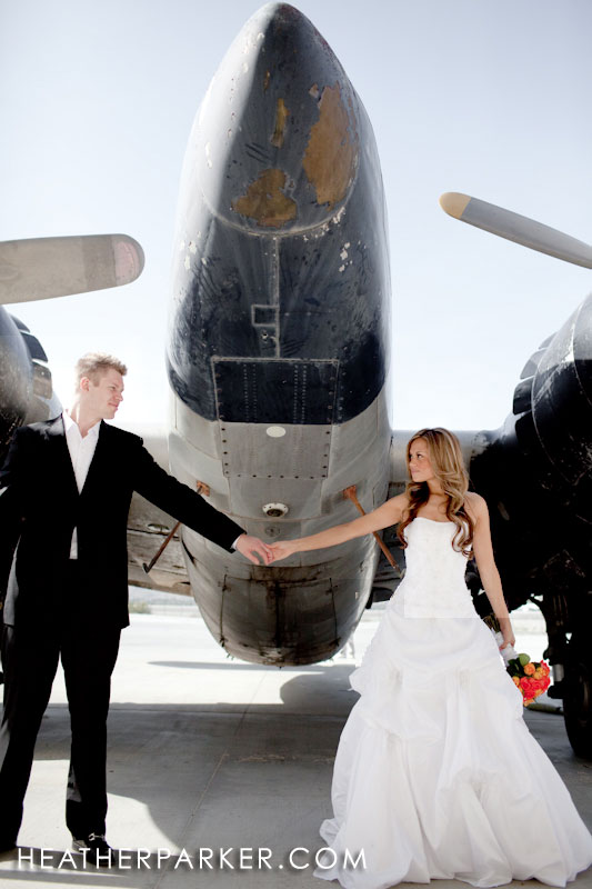 airplane bride & groom