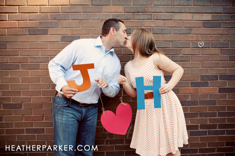 DIY cutout letters and heart for a photo shoot